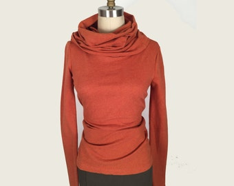 Alena Designs - Nocturnette - Cowl Neck Top Sweater Cotton Lycra Heather Copper