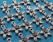 Tiny Flower Charms, 24 pcs,Silver Jewerly Findings, Silver Bracelet Charms, Antique Silver Charms, Silver Jewelry Supplies,10mm x 12mm