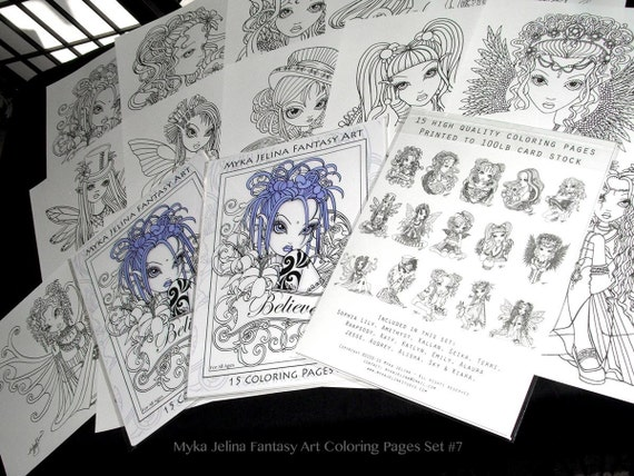 FREE US SHIPPING - Coloring Pages - Set #7 - Big Eyed Fairy - Angel Art - Loose Leaf Coloring Book