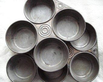 Pair of Charming Rustic Primitive Vintage Antique Cupcake Tins One Six Cup and One Four Cup