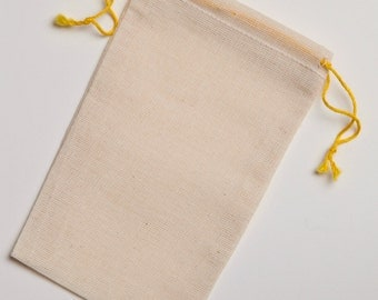 100 count 3.25x5 YELLOW Double Drawstring Cotton Muslin Bags