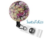 Magnetic Badge Reel made with Lampwork Glass with Retractable Badge Reel.  A great gift for your favorite nurse or coworker