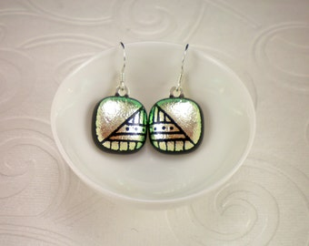 Hand Etched Silver Geometric Dichroic Glass Earrings with Sterling Silver French Hooks
