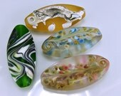 Sale Four Etched Lampwork Focal Beads