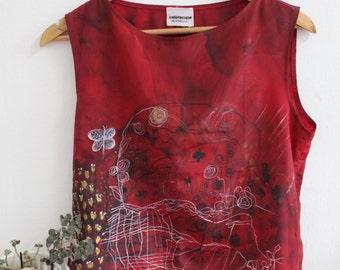 Red slik blouse, hand drawing, roses, houses.landscape.lovely