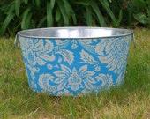 Wash Tub Large Round Galvanized Party Tub Blue Lauren Damask