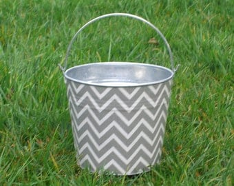 Fabric Covered Pail Galvanized Metal Gray and White Chevron