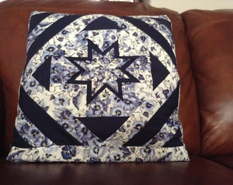 Quillow, Pillow, Lap Quilt, Lap Throw - Folded Star Blue Pansies