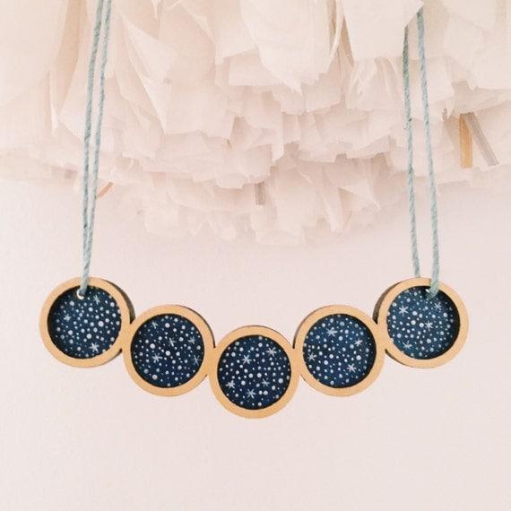 Stargazer Pendulum Necklace . Wooden Necklace . Starry Night