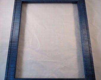 11x14  Curly Maple Blue Dye Picture Frame B1