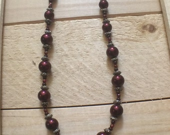 Deep Ruby Red glass Pearls