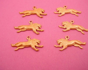 6 brass  running lion left  and right   jungle miniature charms  Zoo