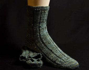 Grey-Green Heather Wide-rib  Wool Socks