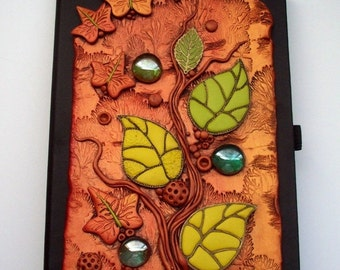 SUMMER SALE Art Journal Notebook Autumn Leaves Polymer Clay and Glass