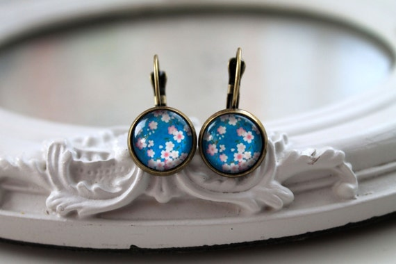 Pretty pink flower sakura earrings sweet lolita feminine leverback