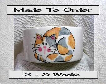 Dilute Calico Cat Medium Pet Bowl Handmade by GMS Paw Prints Inside 20 Oz. Ceramic