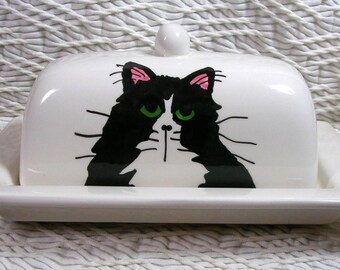 Tuxedo Cat On Butter Dish With Paw Prints On Back  Ceramic Handpainted Original by Grace M Smith