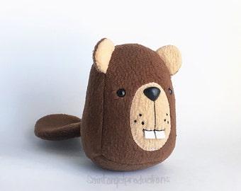 Groundhog Beaver Plushie, Stuffed Plush Brown Animal Rodent, READY TO SHIP