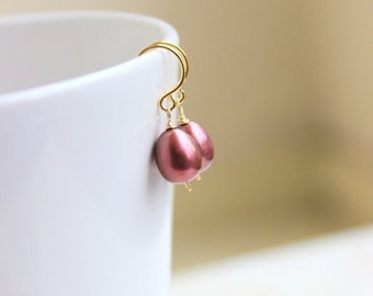 Mega SALE Maroon Pearl Earrings Teardrop Cranberry Gold GE17
