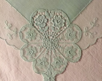 Vintage Green Lace Hanky - Hankie Handkerchief with Lots of Lace
