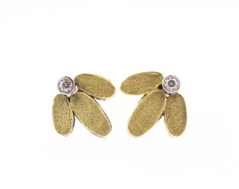 Lichen Lotus Stud Gemstone Earrings