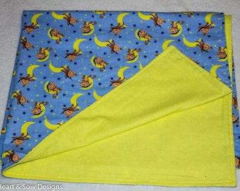 Monkey Baby Blanket- Flannel Banket,- Baby/Toddler Blanket- Recieving Blanket,