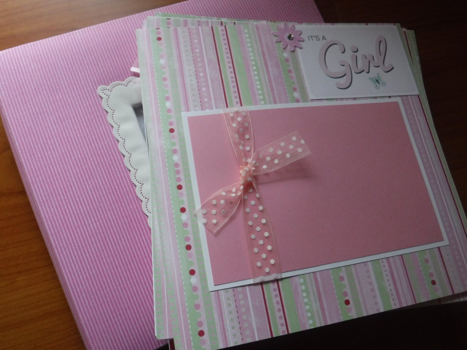 20 Baby Girl Premade 8x8 Scrapbook Pages With Album Great