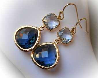 Sapphire blue earrings, sapphire earrings, montana sapphire gold plated earrings glass earrings jewelry gift idea for women girls Christmas