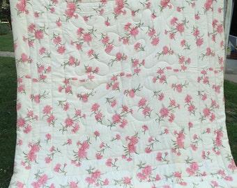 Vintage 1960's Era Pink and White Floral Comforter or Bedspread