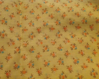 2 Yards of Vintage Yellow with Pink and Blue Flowers Cotton Fabric