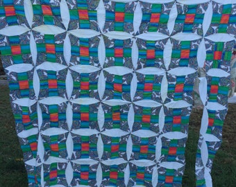 Vintage Nine Patch Variation Quilt Top Set in Teal and White
