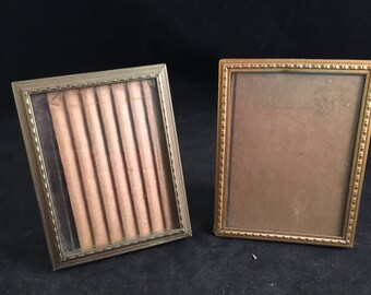 Pair of Vintage Gold Metal 3 x 4  Picture Frames with Glass and Stands