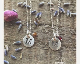 Tiny Initial & Birthstone Pendants - Hand Stamped  On Sterling Silver Tags ---- Hand Stamped Initial Mother Necklace