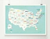 USA Map Wall Art, Digital Download Print, Travel Map,14x11, 18x12, 24x18, Gender Neutral Nursery Wall Decor, Kid's Room, Play