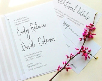 Simple Wedding Invitations, Modern Invitations, Gray and White Wedding, Black and White Wedding