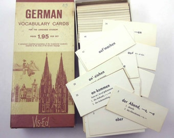 Vintage German Vocabulary Cards in Original Box Contains Almost 1000 Cards