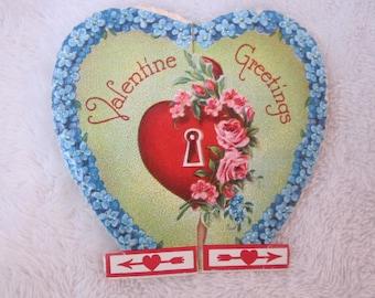 vintage Valentines Day card  girl, 1930s,