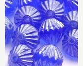 35% off Shop Closing Sale 12 Czech Glass Fluted Firepolish 9mm Beads- Luster Sapphire CZF071