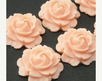 50% off Sale 4 Plastic Flower Cabochons - Rose 15mm - Peach Matte PC068