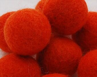 10 Felt Balls - 3cm - Tangelo Orange