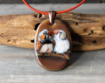 Beautiful zebra finches bird couple necklace  - fused glass pendant - parrot