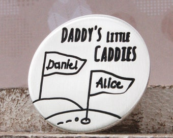 Little Caddies Personalized Sterling Silver Golf Ball Marker, Personalised Golf Marker, Gift for Golf Lover, Father's Day, Golfing Gift
