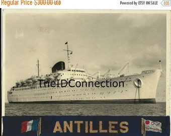 Valentines Day Sale Vintage 1950's French Ocean Liner SS Antilles cruise ship Photograph Retro 1953 Vacation French Maritime 50's B&W photo