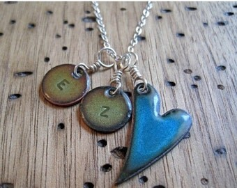 SALE Handstamped Heart Necklace, Personalized Necklace, Mother, Grandmother, Initial Necklace, Initial Charm, Copper Enamel
