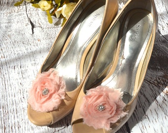 Flower Shoe Clips, Blush Pink Flower shoe clips, shoe clips, wedding shoe clips, rhinestone shoe clips, shabby blush rose
