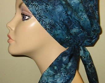 Blue Batik  Print  Chemo Hat, Cancer Scarf, Modest Hat, Alopecia Free Ship USA