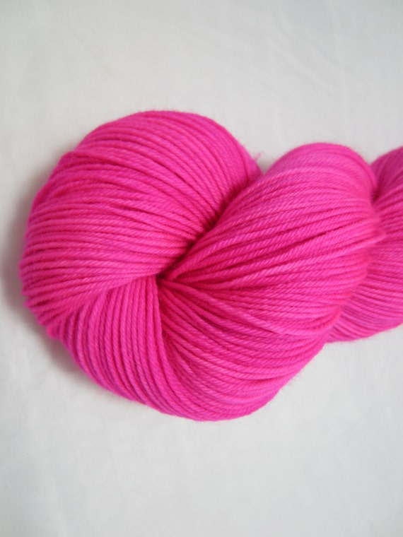 Persistent - Dyed to Order - Hand Dyed - Merino Wool Yarn - Fingering Weight - Hot Pink Yarn