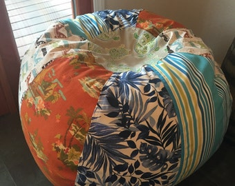 UNFILLED Surfer Boy multi print bean bag with vw buses, stripes, turtles, blue tropical floral and orange hawaiian