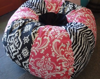Zebra Stripes Ikat and Hot pink damask Bean Bag chair