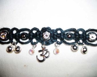 Lacey Aum Black Hemp Choker with Crystals - Hemp Necklace - Namaste Hemp Jewelry - Om Ohm Aum Belly Dance Hemp Jewelry - Ohm Om Aum Jewelry